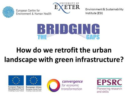 How do we retrofit the urban landscape with green infrastructure? Environment & Sustainability Institute (ESI)
