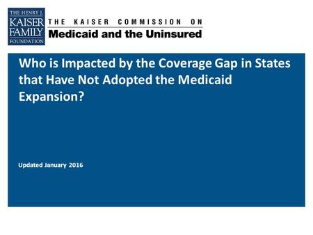 Who is Impacted by the Coverage Gap in States that Have Not Adopted the Medicaid Expansion? Updated January 2016.