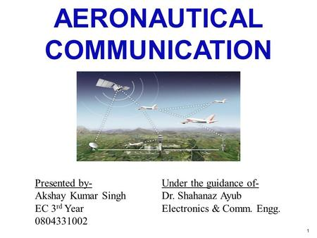 AERONAUTICAL COMMUNICATION Presented by-Under the guidance of- Akshay Kumar SinghDr. Shahanaz Ayub EC 3 rd YearElectronics & Comm. Engg. 0804331002 1.