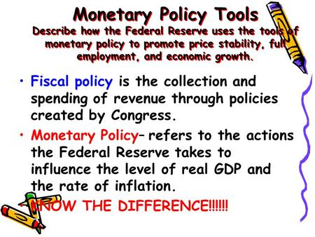 Monetary Policy Tools Describe how the Federal Reserve uses the tools of monetary policy to promote price stability, full employment, and economic growth.