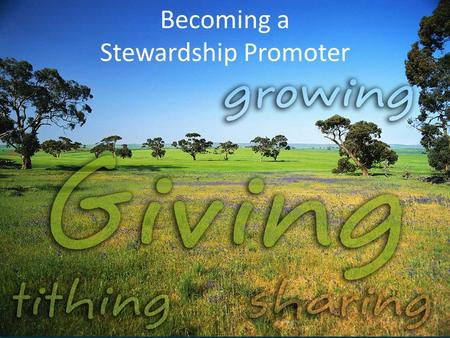 Becoming a Stewardship Promoter. Stewardship Promoters Why? What? Who? How?