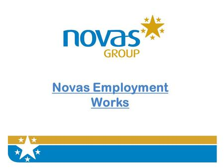 Novas Employment Works. The Aim The aim is to talk to you about how Novas provides learning and employment opportunities for service users.
