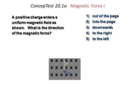 ConcepTest 20.1a Magnetic Force I 1) out of the page 2) into the page 3) downwards 4) to the right 5) to the left A positive charge enters a uniform magnetic.
