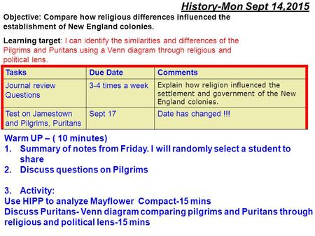 History-Mon Sept 14,2015 Warm UP – ( 10 minutes) 1.Summary of notes from Friday. I will randomly select a student to share 2.Discuss questions on Pilgrims.