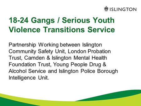 18-24 Gangs / Serious Youth Violence Transitions Service Partnership Working between Islington Community Safety Unit, London Probation Trust, Camden &