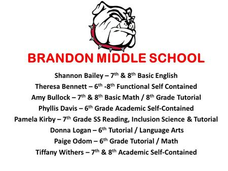 Shannon Bailey – 7 th & 8 th Basic English Theresa Bennett – 6 th -8 th Functional Self Contained Amy Bullock – 7 th & 8 th Basic Math / 8 th Grade Tutorial.