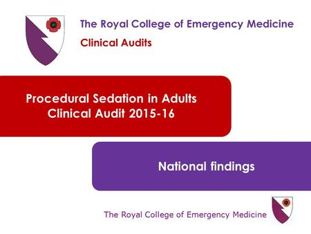 The Royal College of Emergency Medicine Procedural Sedation in Adults Clinical Audit 2015-16 National findings The Royal College of Emergency Medicine.