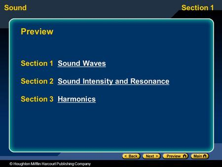 SoundSection 1 © Houghton Mifflin Harcourt Publishing Company Preview Section 1 Sound WavesSound Waves Section 2 Sound Intensity and ResonanceSound Intensity.