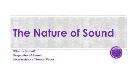 The Nature of Sound What is Sound? Properties of Sound Interactions of Sound Waves.