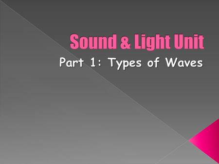  Recognize that waves transfer energy  Distinguish between mechanical waves and electromagnetic waves  Explain the relationship between particle vibration.