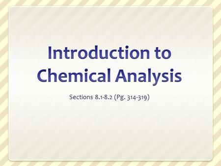 Introduction to Chemical Analysis