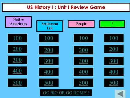 US History I : Unit I Review Game 100 200 300 400 500 100 200 300 400 500 100 200 300 400 500 100 200 300 400 500 GO BIG OR GO HOME!! Native Americans.