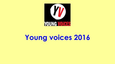 Young voices 2016. Pop Medley Standing in a crowded room and I can't see your face Put your arms around me, tell me everything's OK In my mind, I'm running.