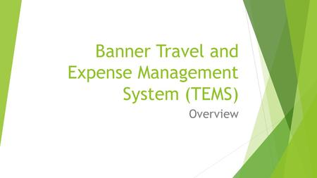 Banner Travel and Expense Management System (TEMS) Overview.