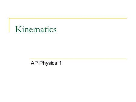 Kinematics AP Physics 1. Kinematics deals with the concepts that are needed to describe motion. Dynamics deals with the effect that forces have on motion.