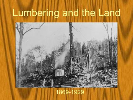 Lumbering and the Land 1869-1929. The Gilded Age.
