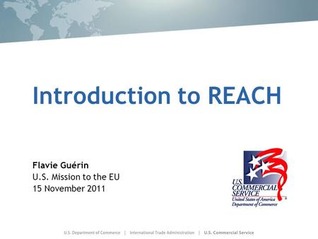 Introduction to REACH Flavie Guérin U.S. Mission to the EU 15 November 2011.