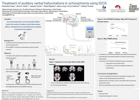 Treatment of auditory verbal hallucinations in schizophrenia using tDCS Charlotte Chaze 1, Vince P. Clark 1,2, Jessica Turner 1,3, Rose Bigelow 2, Jason.