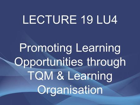 LECTURE 19 LU4 Promoting Learning Opportunities through TQM & Learning Organisation.