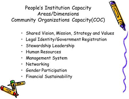 People's Institution Capacity Areas/Dimensions Community Organizations Capacity(COC) Shared Vision, Mission, Strategy and Values Legal Identity/Government.