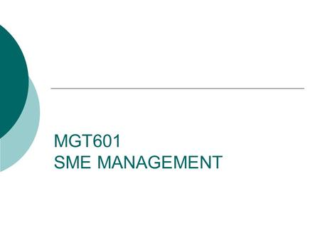 MGT601 SME MANAGEMENT. Lesson 12 Short and Medium Term Issues for SME Policy Formulation – II.