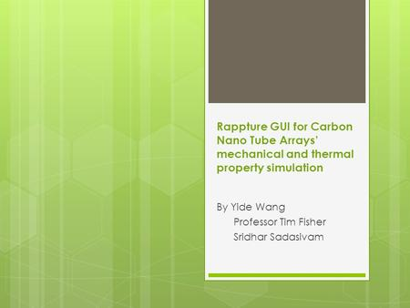 Rappture GUI for Carbon Nano Tube Arrays' mechanical and thermal property simulation By Yide Wang Professor Tim Fisher Sridhar Sadasivam.