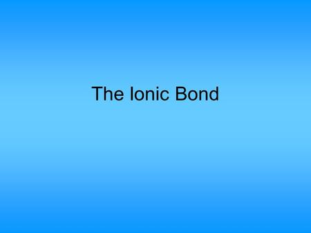 The Ionic Bond. Helium, neon and argon are atoms which do not react with other atoms. We call them the Inert Gases (or Noble Gases) because of this. Each.