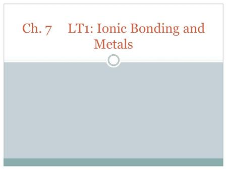 Ch. 7LT1: Ionic Bonding and Metals. What are IONS?