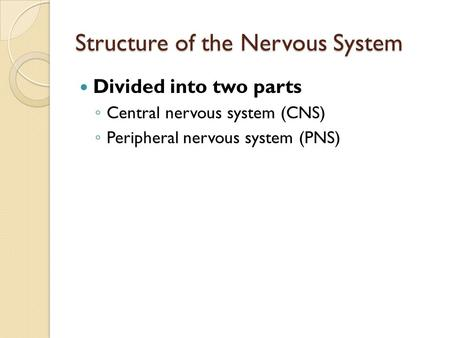 Structure of the Nervous System Divided into two parts ◦ Central nervous system (CNS) ◦ Peripheral nervous system (PNS)