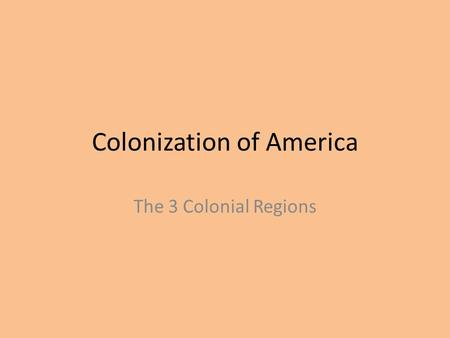 Colonization of America The 3 Colonial Regions. New England Massachusetts New Hampshire Connecticut Rhode Island.