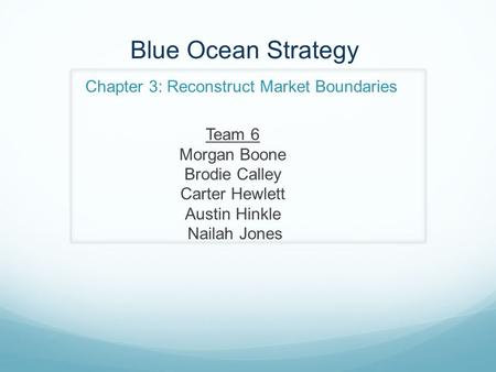 Blue Ocean Strategy Chapter 3: Reconstruct Market Boundaries Team 6 Morgan Boone Brodie Calley Carter Hewlett Austin Hinkle Nailah Jones.