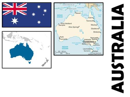 AUSTRALIA. Relative Location: Australia is in Oceania. It is a continent between the Indian Ocean and the South Pacific Ocean. Total Land Area: 7,741,220.