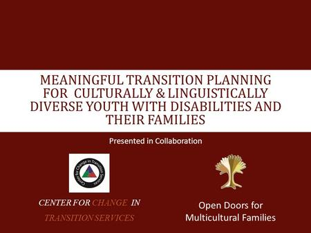 MEANINGFUL TRANSITION PLANNING FOR CULTURALLY & LINGUISTICALLY DIVERSE YOUTH WITH DISABILITIES AND THEIR FAMILIES Presented in Collaboration Open Doors.