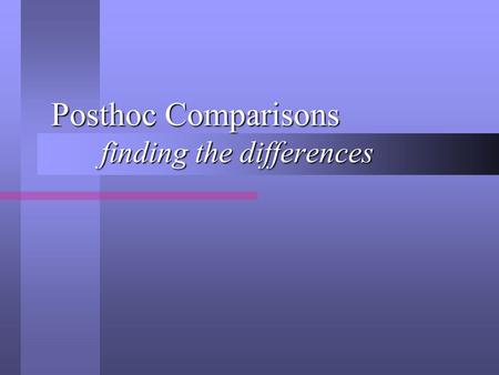 Posthoc Comparisons finding the differences. Statistical Significance What does a statistically significant F statistic, in a Oneway ANOVA, tell us? What.