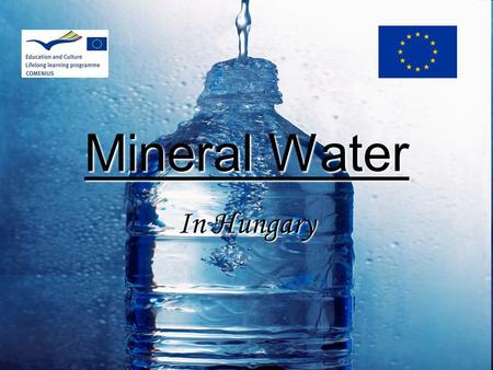 Mineral Water In Hungary. In general  Mineral spring  Two groups:sparkling still mineral water  Specific flavour, healing effect  Comes from floodplain.