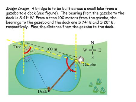 Bridge Design A bridge is to be built across a small lake from a gazebo to a dock (see figure). The bearing from the gazebo to the dock is S 41  W. From.