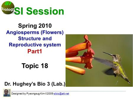 Designed by Pyeongsug Kim ©2009 SI Session SI Session Spring 2010 Angiosperms (Flowers) Structure and Reproductive system Part1.