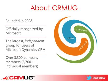 @CRMUG About CRMUG Users Partners Microsoft Founded in 2008 Officially recognized by Microsoft The largest, independent group for users of Microsoft Dynamics.