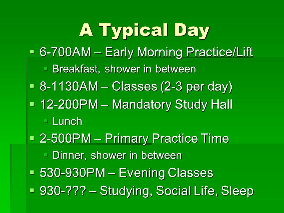 Typical College Schedule