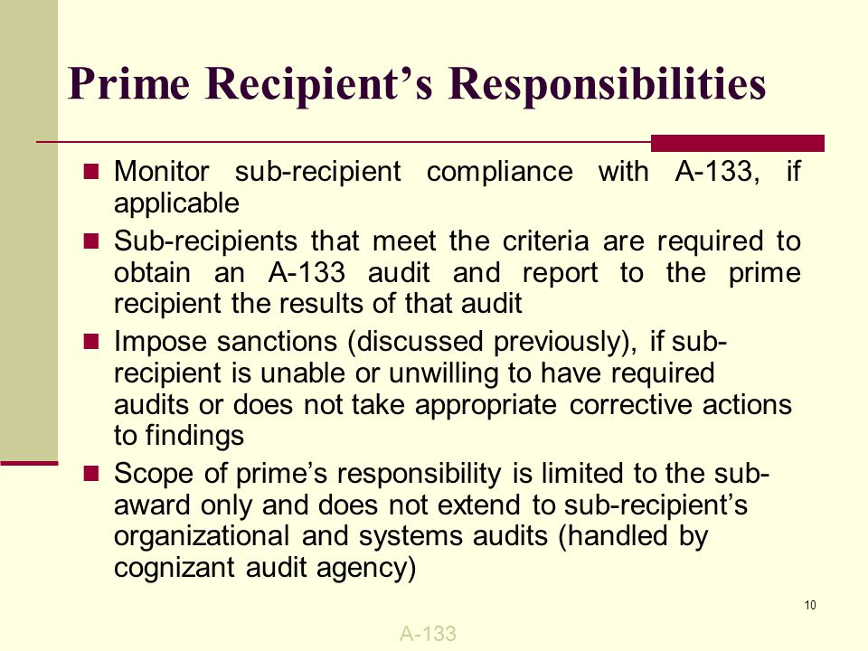 FSU's A-133 Audit Performed by Auditor General's Office, State of Florida Coordinated by FSU's Office of Audit Services Prepares written response and corrective actions, with anticipated completion date, to audit findings Copy of the audit report submitted to a Federal Audit Clearinghouse and is accessible at http://harvester.census.gov/sac/.