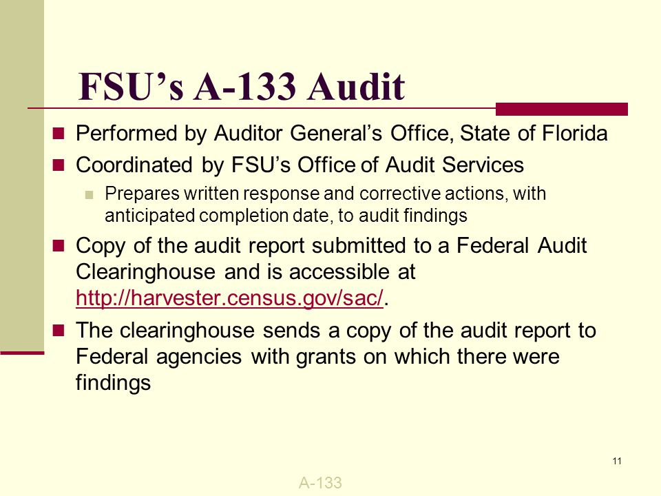 FSU's A-133 Audit Audit report package must be kept on file for three years from date of receipt Audit package includes: 1.