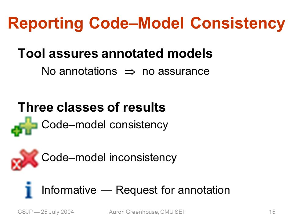 CSJP — 25 July 2004Aaron Greenhouse, CMU SEI16 Code–Model Inconsistency Code is wrong — bug in the program –E.g., missing lock acquisition Model is incomplete — bug in model –E.g., need to add more annotations Model is incorrect — bug in model –E.g., wrong lock associated with shared state Analysis is conservative — limitation of tool –E.g., analysis looses track of lock –E.g., memory model trickery