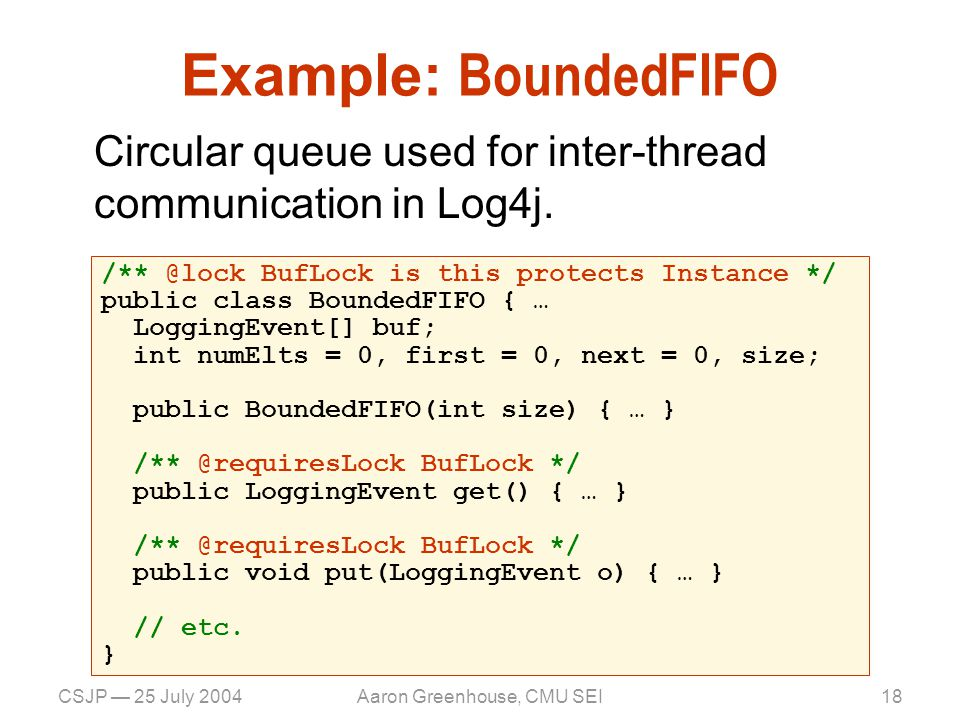 CSJP — 25 July 2004Aaron Greenhouse, CMU SEI19 Example: BoundedFIFO Circular queue used for inter-thread communication in Log4j.