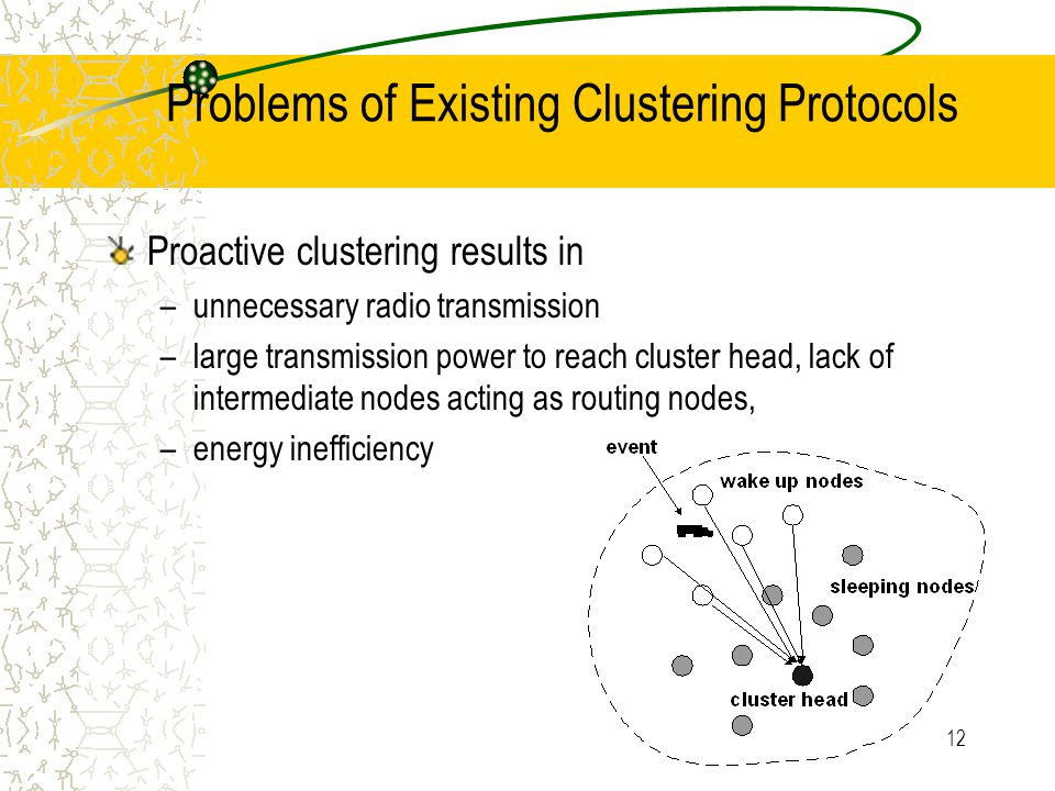 13 Benefits of DRC Reactive clustering - driven by events Localized protocol Energy-efficient Less transmission power to reach cluster head