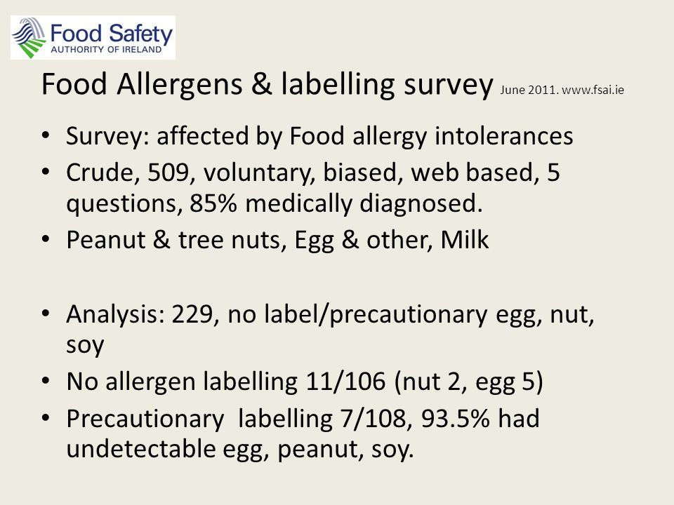 Conclusions Scepticism and low consumer confidence in precautionary labels is justified Zero risk unfeasible National and EU registry of severe allergic reactions (Worm at al, Allergy, 2010) : detect prevalence Safety/labelling thresholds: processes for risk assessment & robust monitoring systems Food Allergens & labelling survey June 2011.