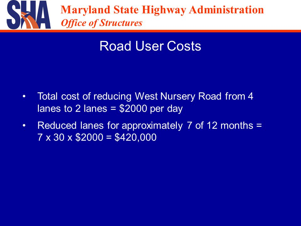 Maryland State Highway Administration Office of Structures Maryland State Highway Administration Office of Structures Public Outreach Mass mailing of project brochure Public outreach meeting Community liaison met individually with major businesses in corridor Presented at BWI business partnership