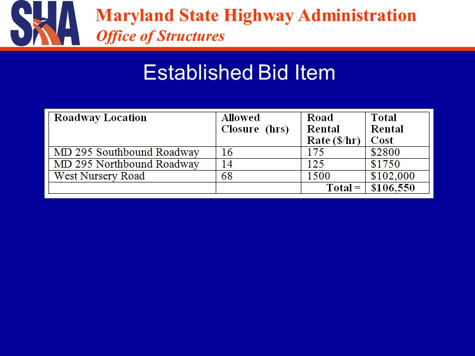 Maryland State Highway Administration Office of Structures Maryland State Highway Administration Office of Structures Example During weekend no.