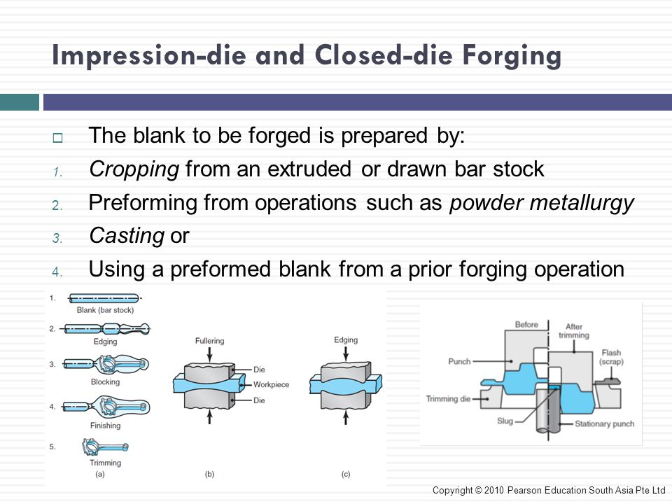Impression-die and Closed-die Forging Forging Force  The forging force, F, required to carry out an impression-die forging operation is Copyright © 2010 Pearson Education South Asia Pte Ltd k = multiplying factor obtained Y f = flow stress of the material at the forging temperature