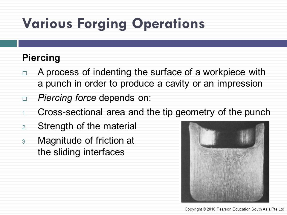 Various Forging Operations CASE STUDY 14.1 Manufacture of a Stepped Pin by Heading and Piercing Operations  A stepped pin is made from SAE 1008 steel  Cold-forging steps is used to produce this part Copyright © 2010 Pearson Education South Asia Pte Ltd