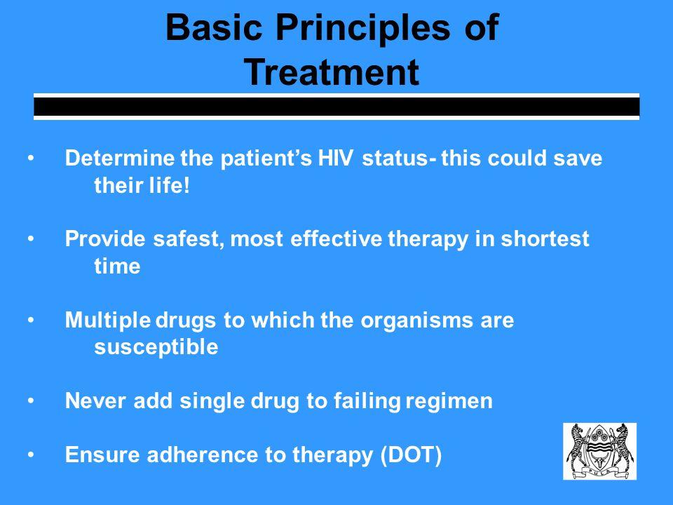 Standard Treatment Regimen Initial phase: standard four drug regimens (INH, RIF, PZA, EMB), for 2 months Continuation phase: additional 4 months